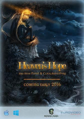 Das Bild zeigt den Flyer des Point & Click Adventures Heaven´s Hope von der Gamescom 2015